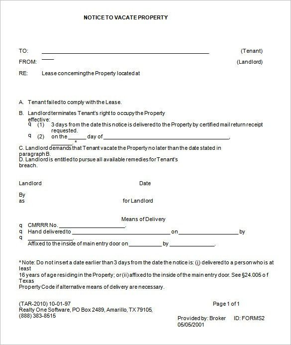 Free Printable Eviction Notice Forms Sample Eviction Notice - notice form in word