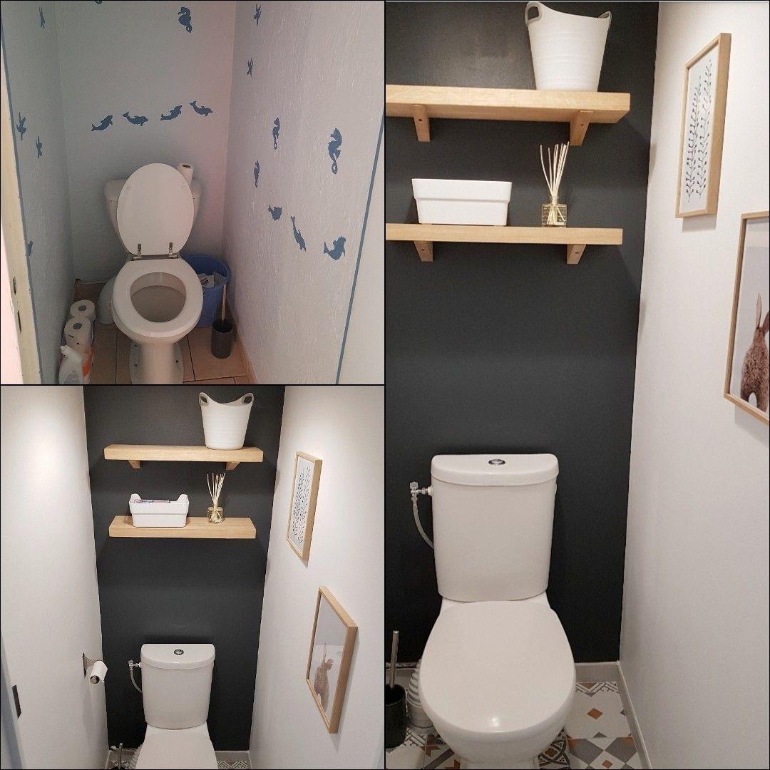 Le Avant Apres Nos Toilettes Ont Ete Refaites En Simplicite Sols Toilettes Etageres Peintures Interrupteur Cadres Achetes Chez Ler Interupteur Deco Maison Et Interieur