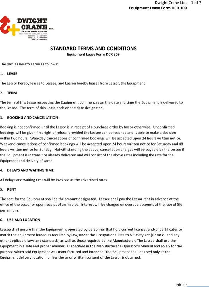 Simple Lease Template Sample Lease Agreement Free Download - equipment rental agreement sample
