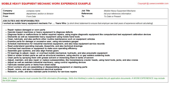 Heavy Equipment Mechanic Resume Examples - Examples of Resumes - heavy equipment mechanic resume