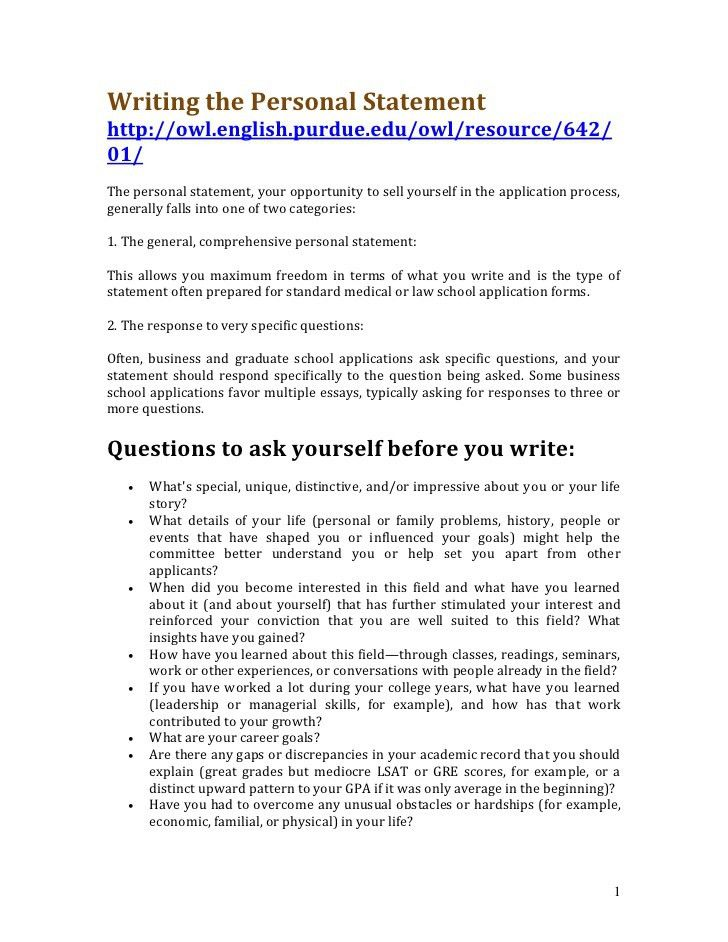 Personal Statement Examples For Resume - Examples of Resumes