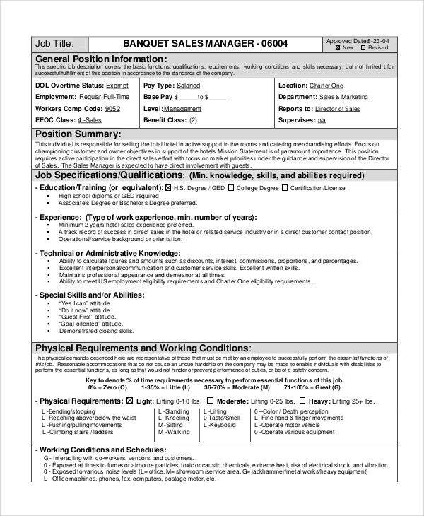 banquet job description 11 server job description templates free service manager job description