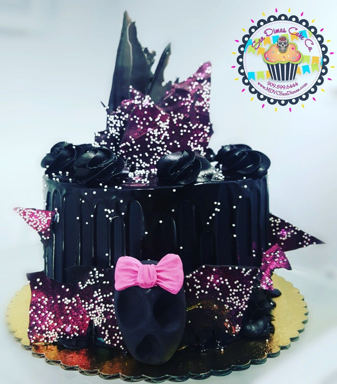 Girlish Halloween SKULL CANDY Drip Cake by San Dimas Cake