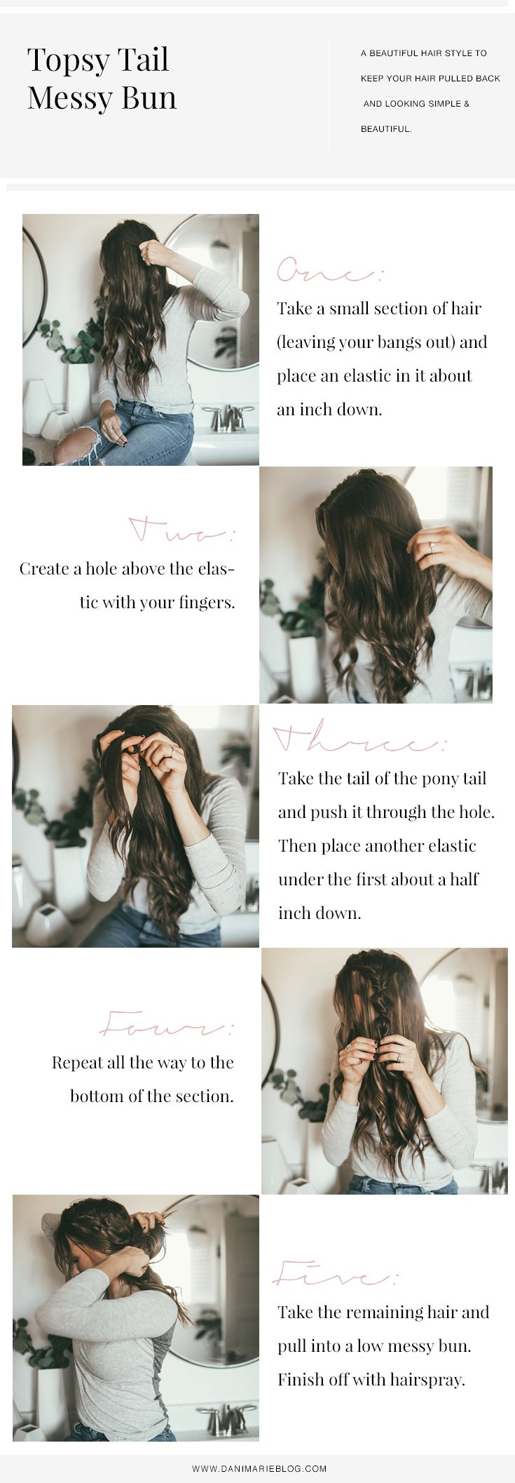Pin this ASAP if you have been looking for the best EASY yet stylish hair tutorial? Utah Style Blogger Dani Marie is sharing the perfect topsy tail bun tutorial that everyone will love. See it HERE! #topsytail #bunhairtutorial #hairstyle #hairtutorial #easyhairstyle #danimarie