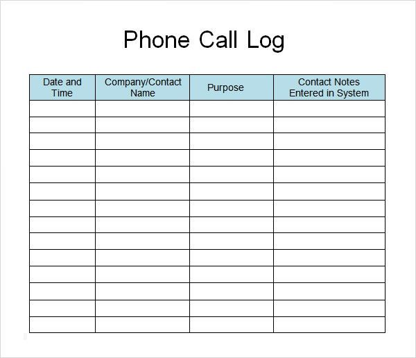Call log template 11 free word excel pdf documents download - free log templates