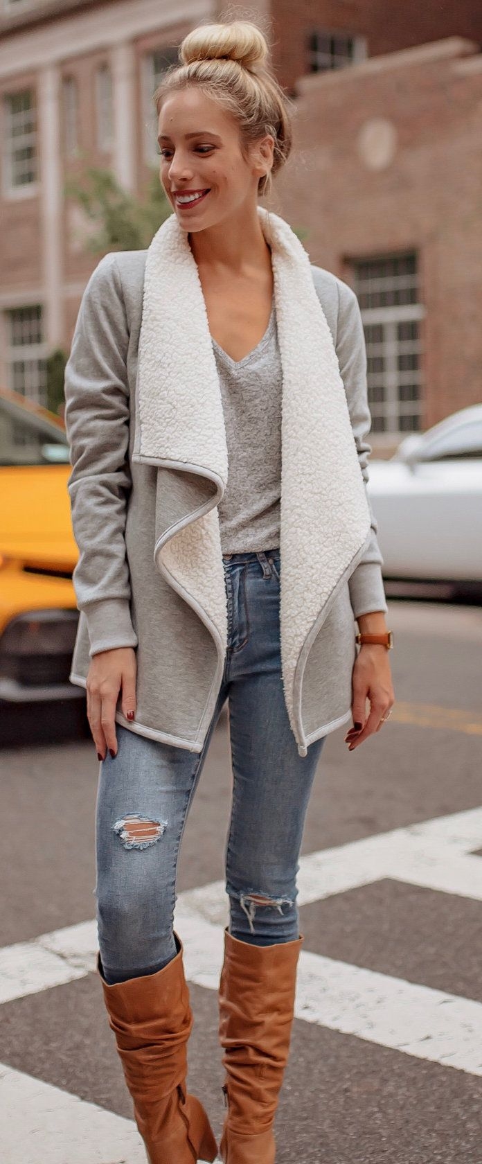 white sheepskin waterfall short cardigan