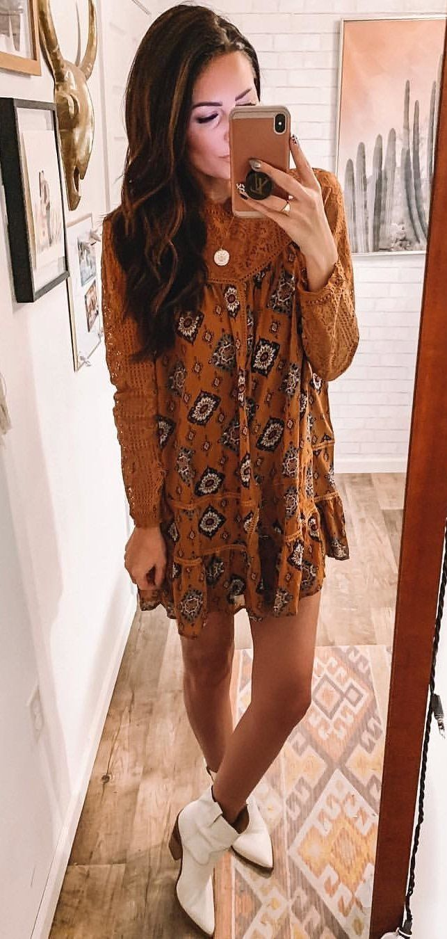 brown and black floral dress #winter #outfits