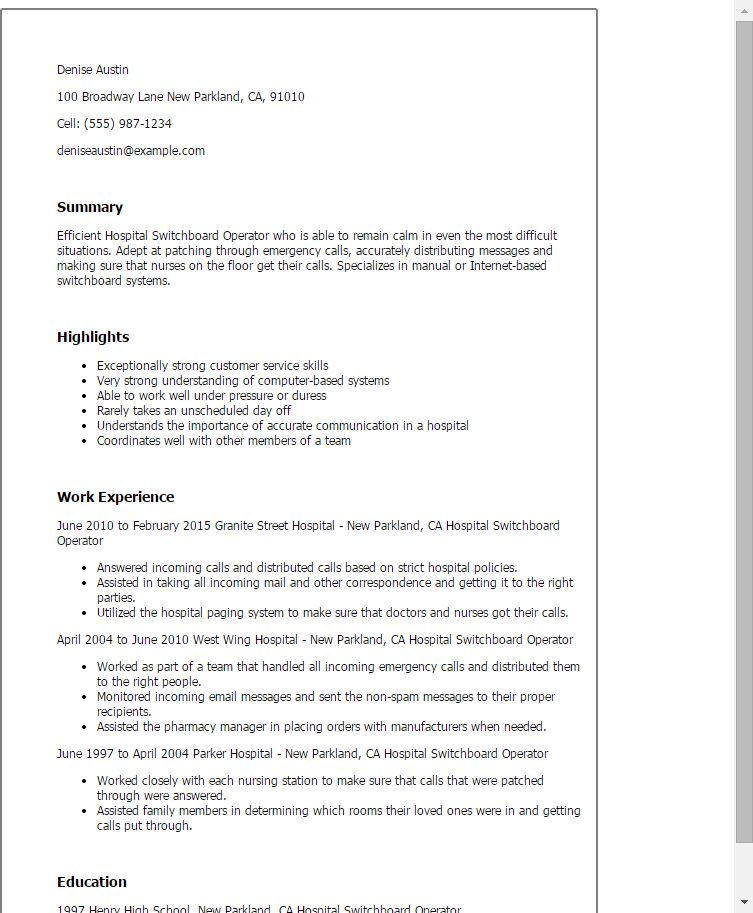 Hospital Resume Examples  Examples Of Resumes