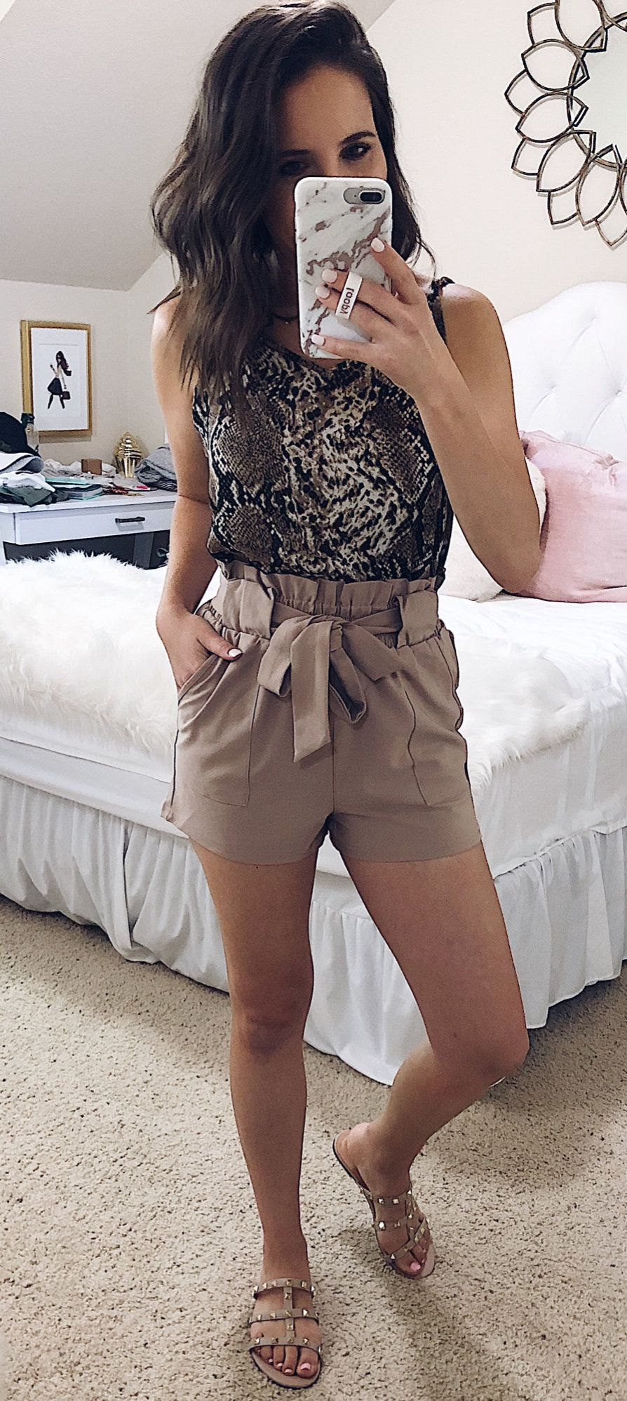brown shorts #spring #outfits