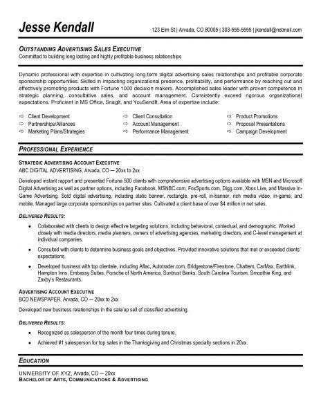 Advertising Executive Resume Advertising Account Executive Resume  Advertising Account Executive Resume