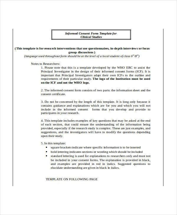 Informed Consent Example Sample Informed Consent Forms 11 Free - research consent form template
