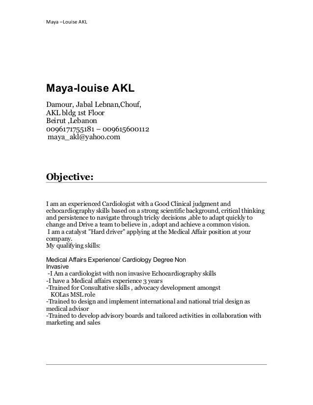 Medical Advisor Cover Letter