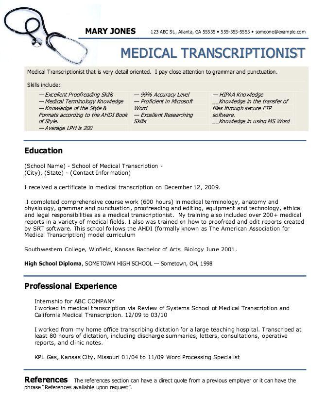 Medical Transcription Resume Samples Cvresumeunicloudpl