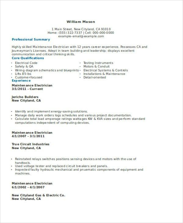 Resume Examples Electrician Unforgettable Journeymen Electricians - electrician resume template