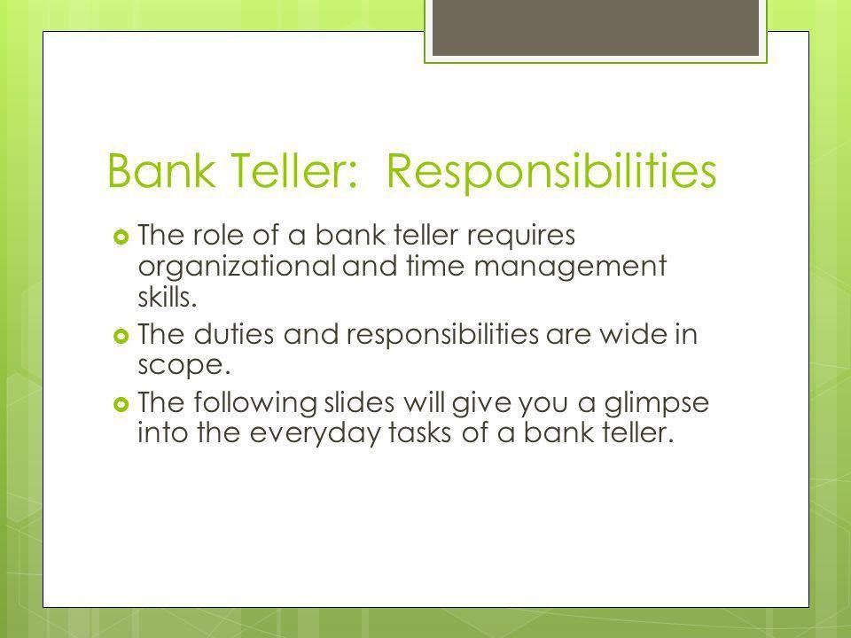 Bank Teller Responsibilities Resume Bank Teller Resume Example - bank teller duties