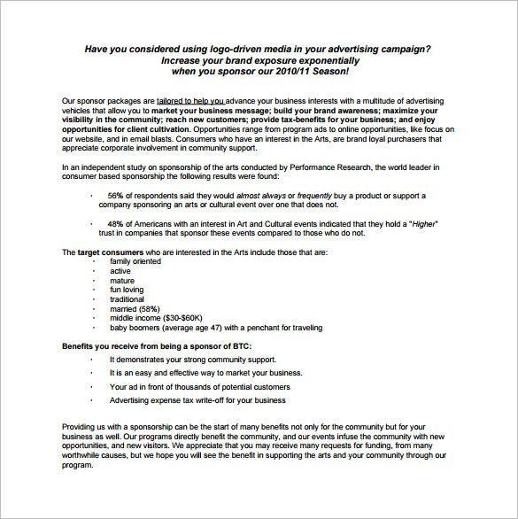 Template Sponsorship Proposal Sample Sponsorship Proposal - athlete sponsorship proposal template