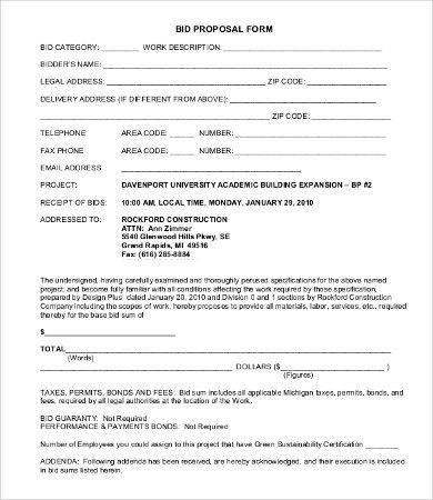 Construction Bid Template Construction Proposal Template 4 Best - bid proposal forms