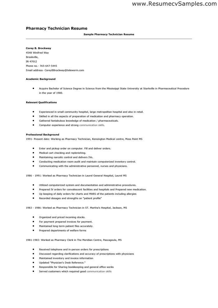 sample resume for a pharmacy technician cover letter examples for