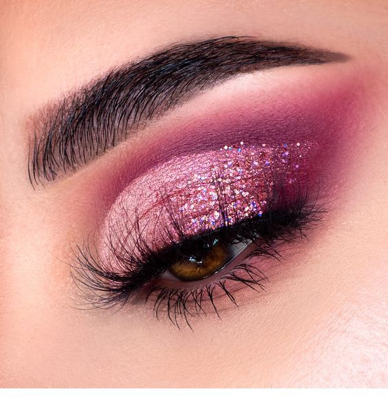 Pink glitter makeup for eyes