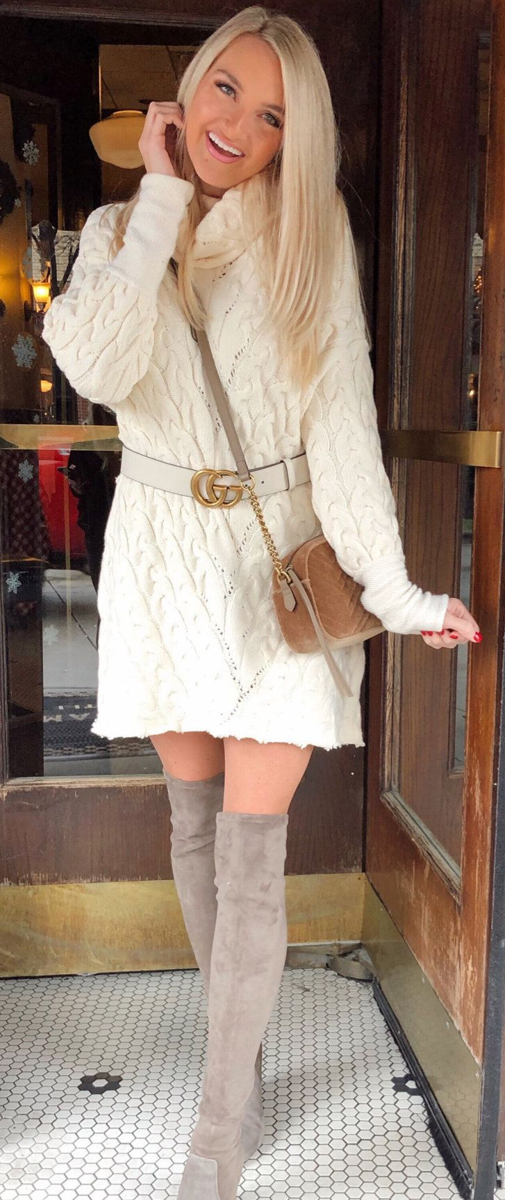 white long-sleeved mini dress