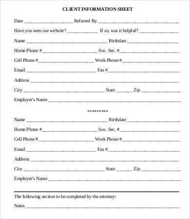 Client Information Sheet Template Client Information Sheet - sample open house sign in sheet template