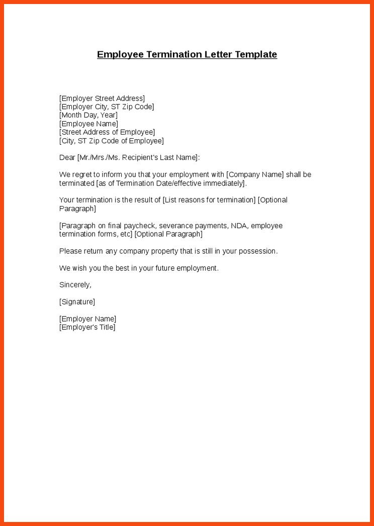 Separation Of Employment Letter 11 Employment Termination Letter - job termination letter