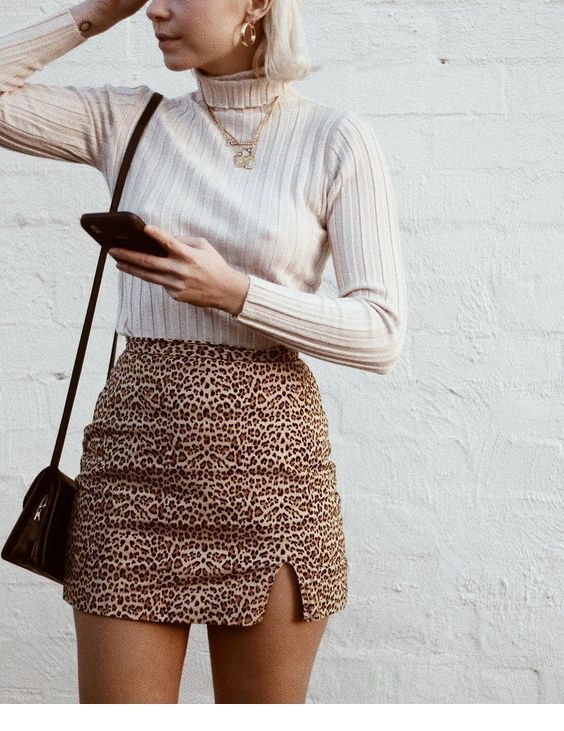 Blouse and a mini leo skirt