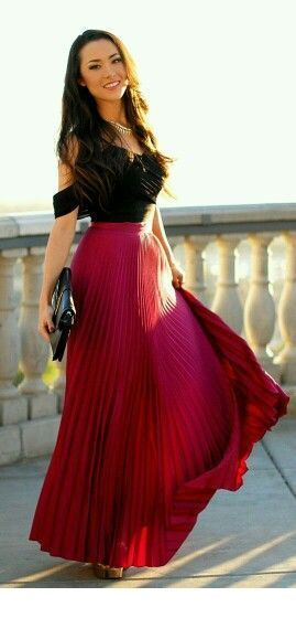 Black top and long burgundy skirt