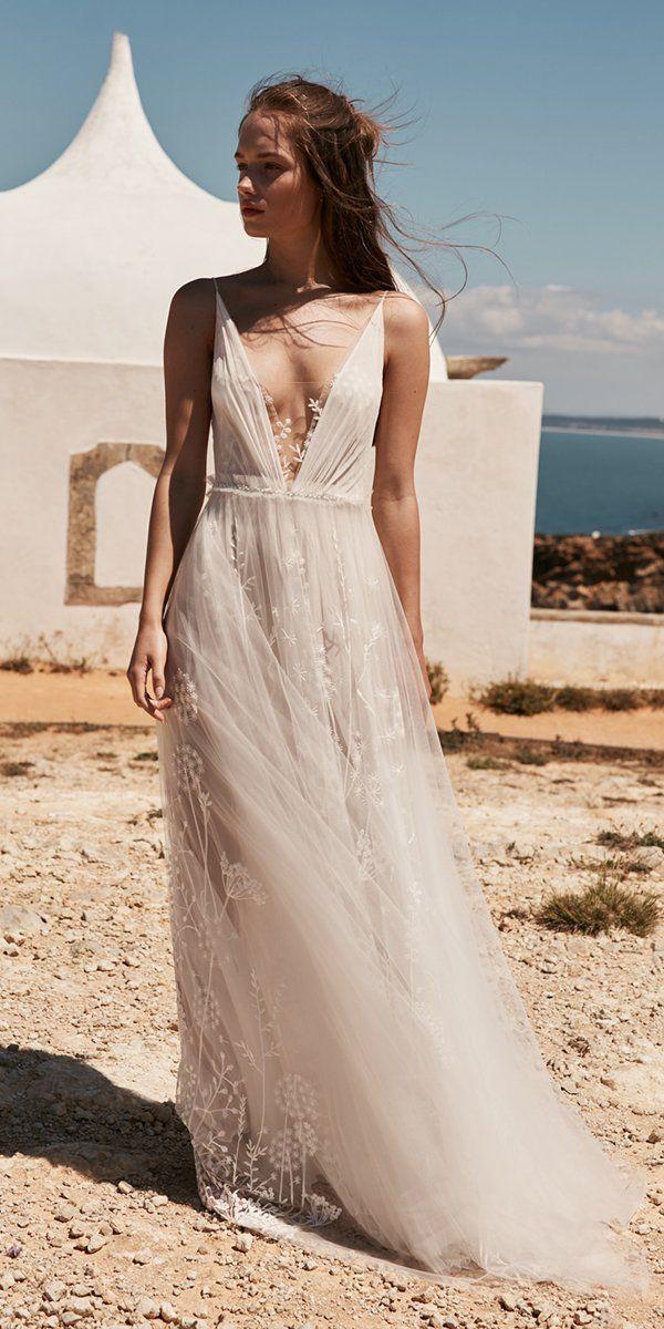 27 Best Wedding Dresses For Celebration ❤ best wedding dresses a line deep v neckline flowy beach anna kara #weddingforward #wedding #bride