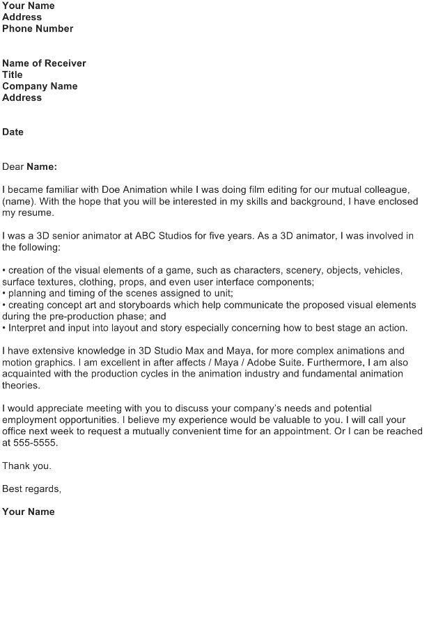 3d Animator Cover Letter