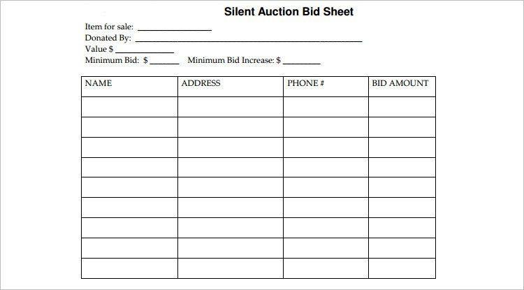 Silent Auction Bid Sheet Template 40 Silent Auction Bid Sheet - sample silent auction bid sheet