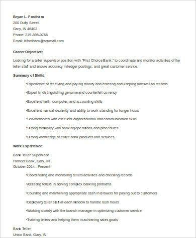 bank teller objective for resume