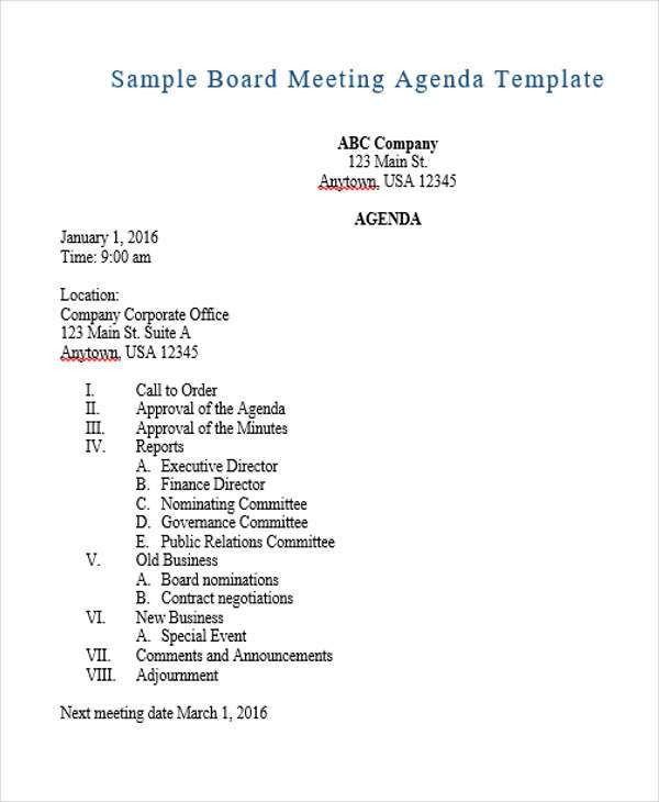 sample meeting agenda format hitecauto - sample board meeting agenda