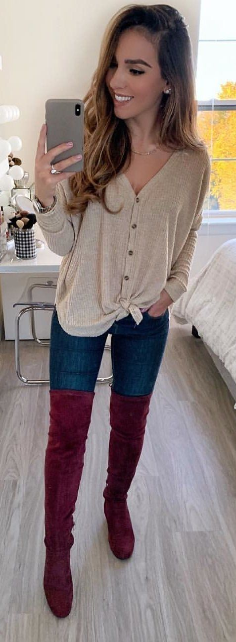 brown button-up long-sleeved top