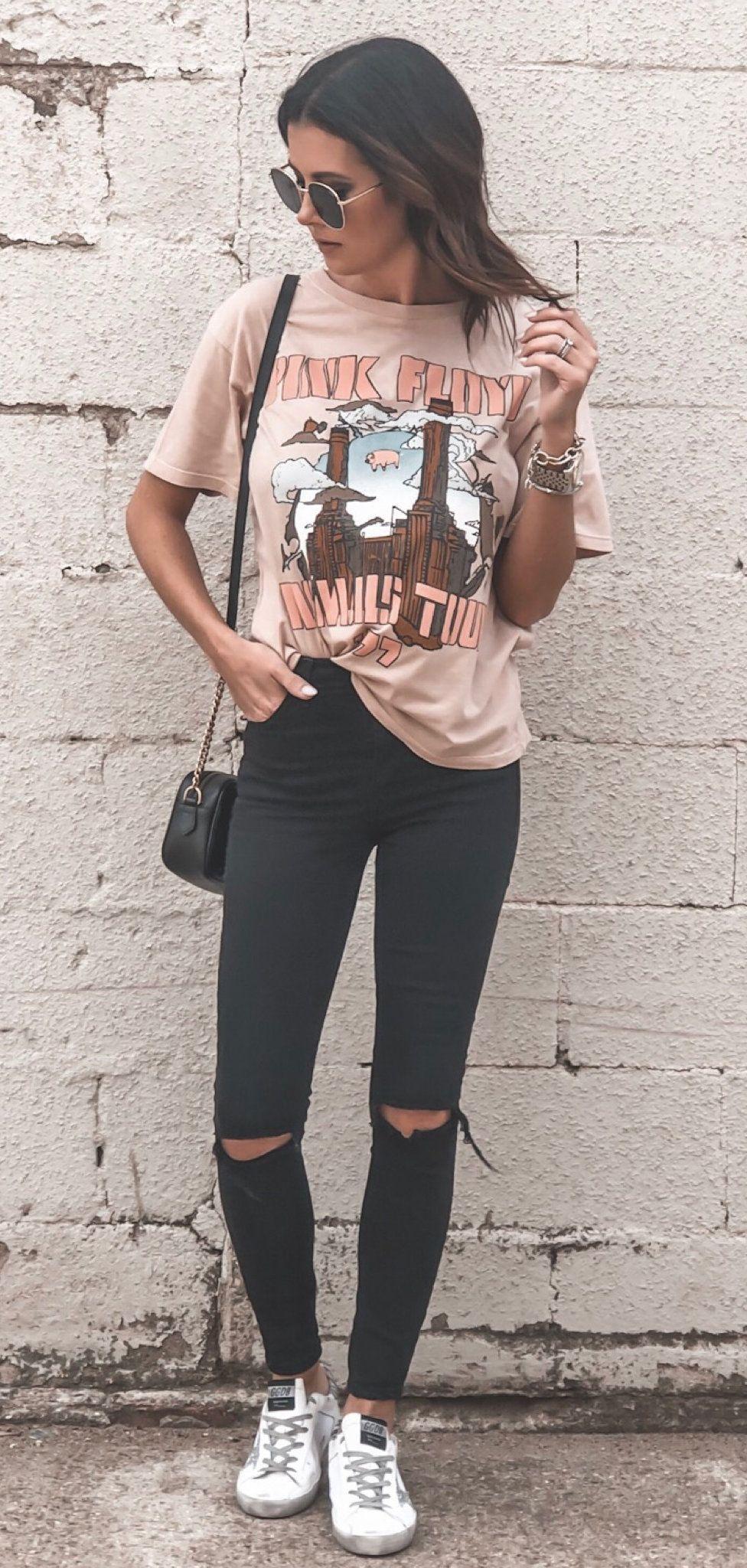 beige t-shirt #summer #outfits