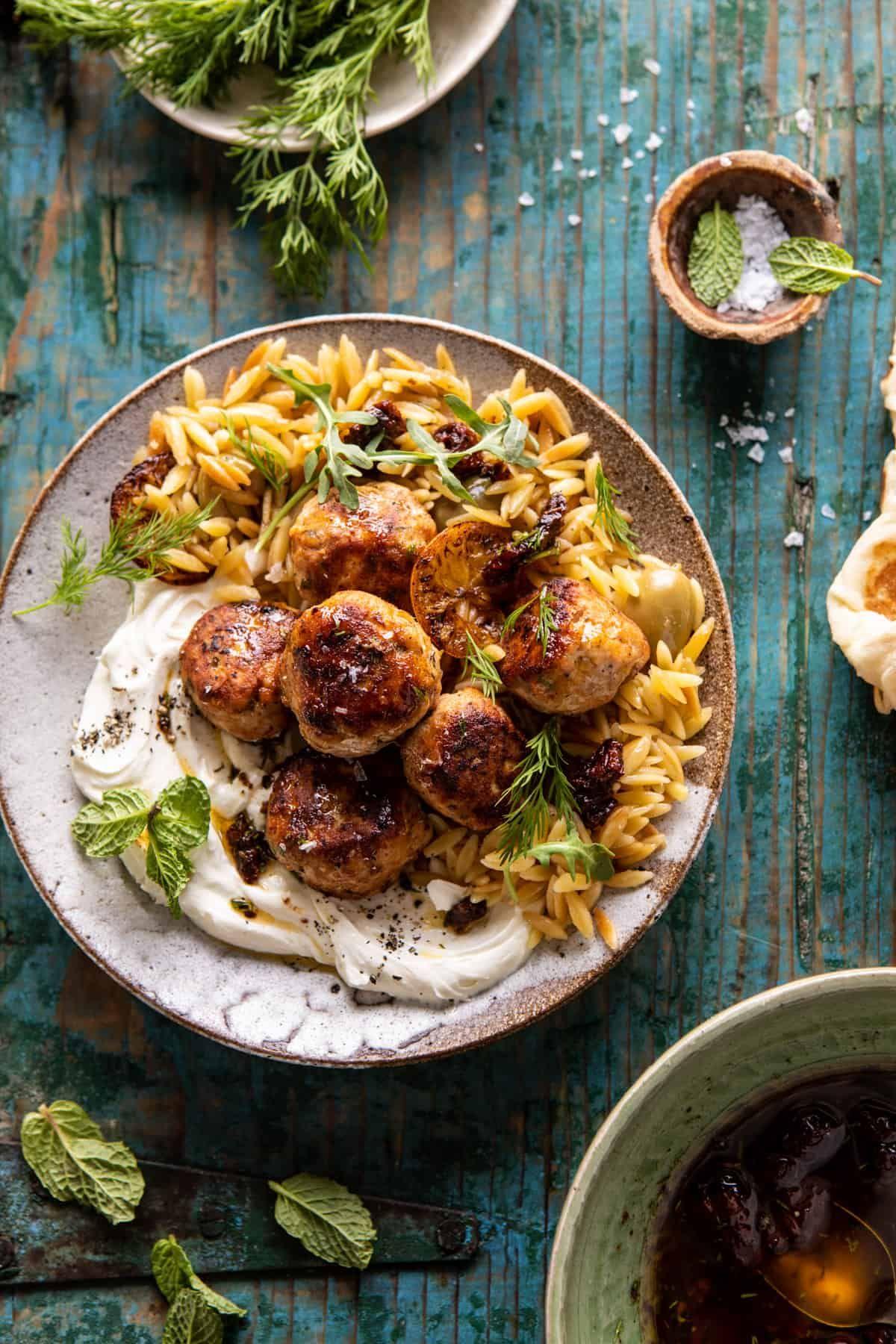 One Skillet Greek Meatballs and Lemon Butter Orzo.