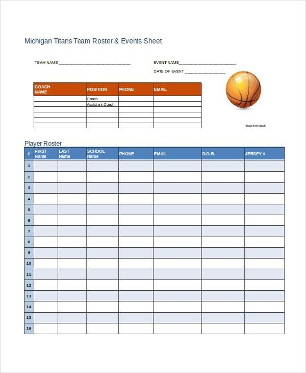 Blank Roster Sample Hockey Roster Template 7 Free Documents - training roster template