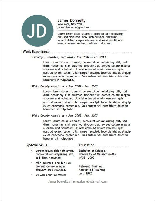 microsoft resume template 2013