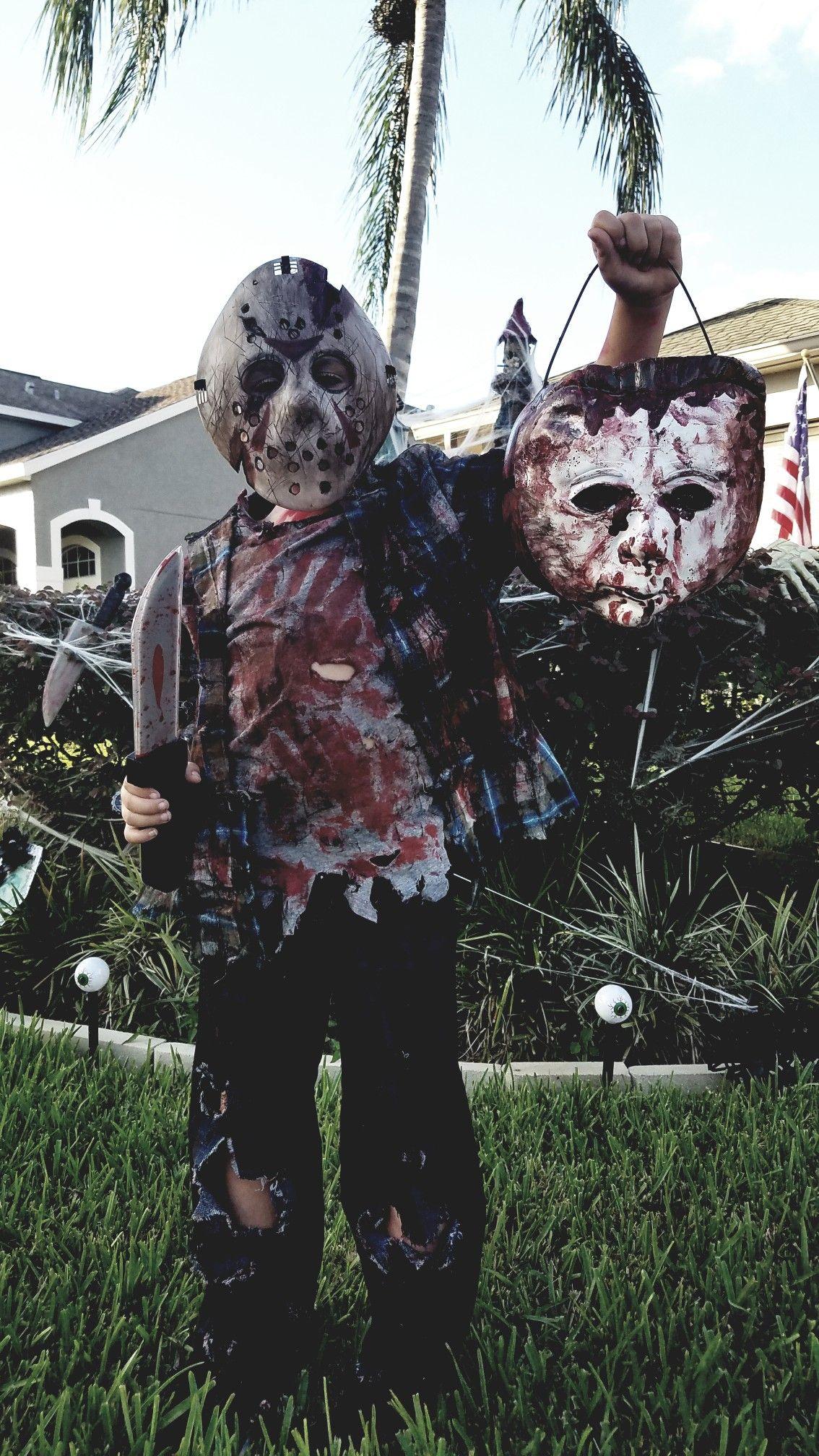 Jason costume / Michael Myers candy bucket 😂 Halloween