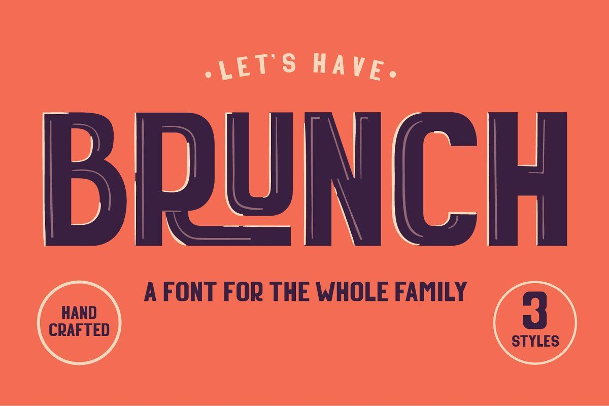 Brunch is a modern font for modern times and nothing's better than having Brunch with the whole family. With 3 different styles, the Brunch font family is a very versatile and stylish typeface for your everyday headlines and prints.