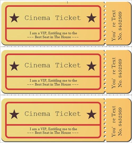 Movie Ticket Template For Word 6 Movie Ticket Templates To Design - print your own tickets template free