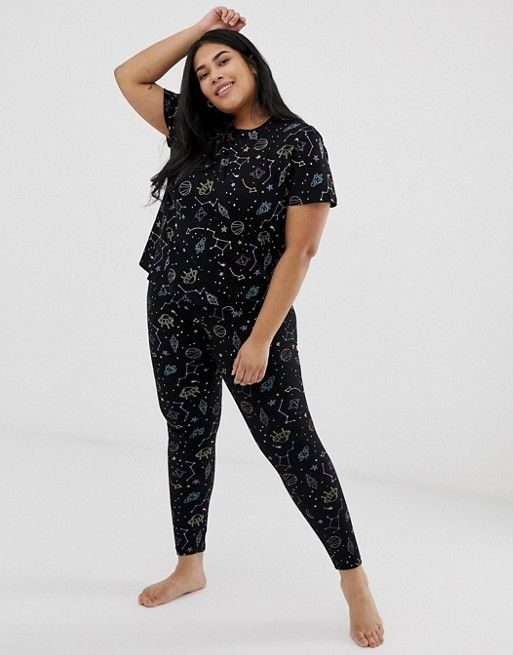 ASOS Curve | ASOS DESIGN Curve star gazer printed boxy tee and legging pyjama set