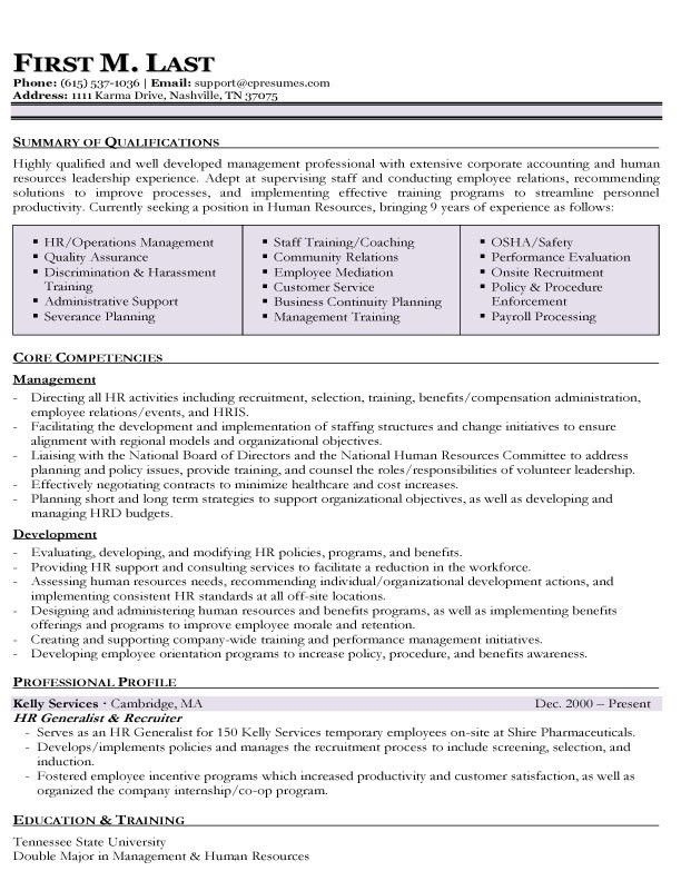 Hr Generalist Resume Sample Resume For A Human Resources