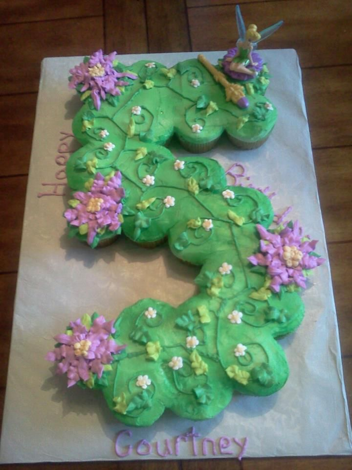 Tinkerbell Cake In The Shape Of Number 3 Turned Out So Much Better Than I Thought It Would