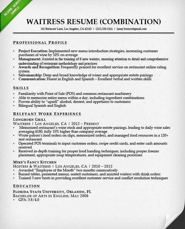 Waitress Resume Skills Examples Free Server Resume Example Server - hostess resume