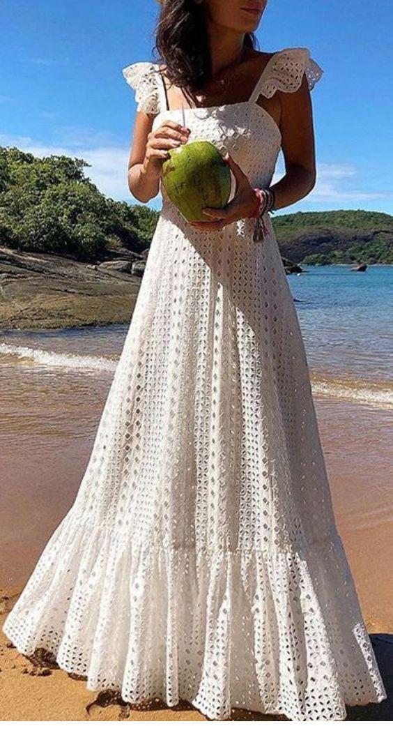 Sweet white long dress boho style