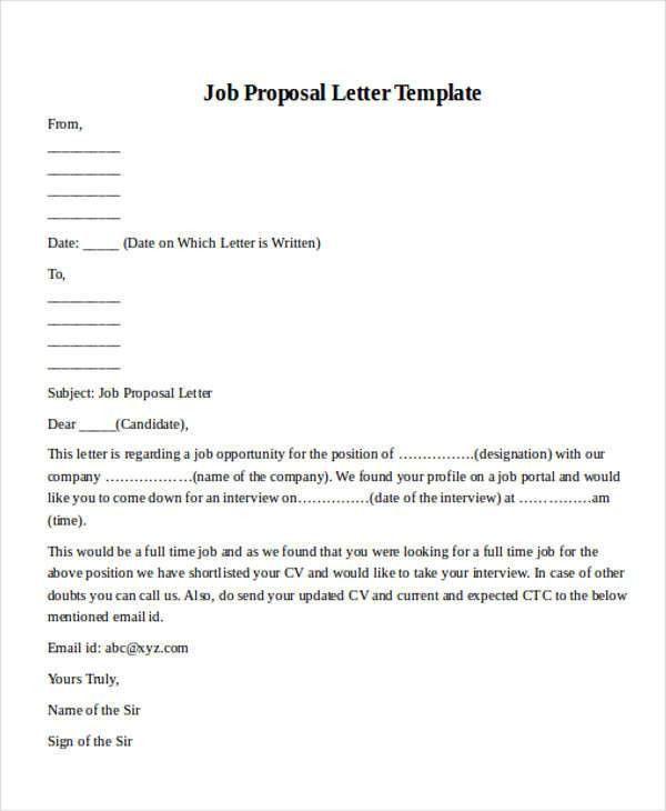 Job Proposal Letter Samplejobproposalletter 130926230121 Phpapp01 - proposal letter format