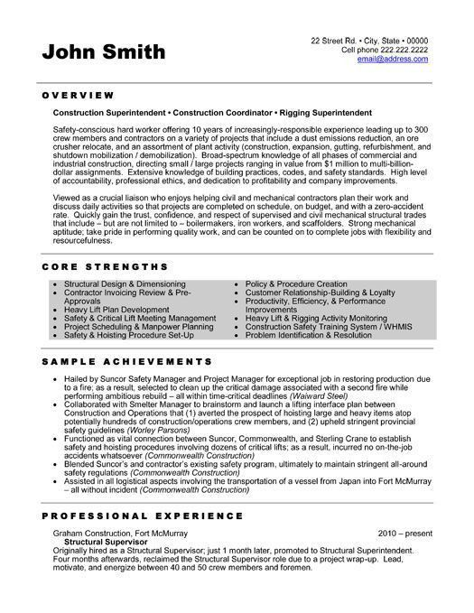 Construction Superintendent Resume Examples And Samples - Examples