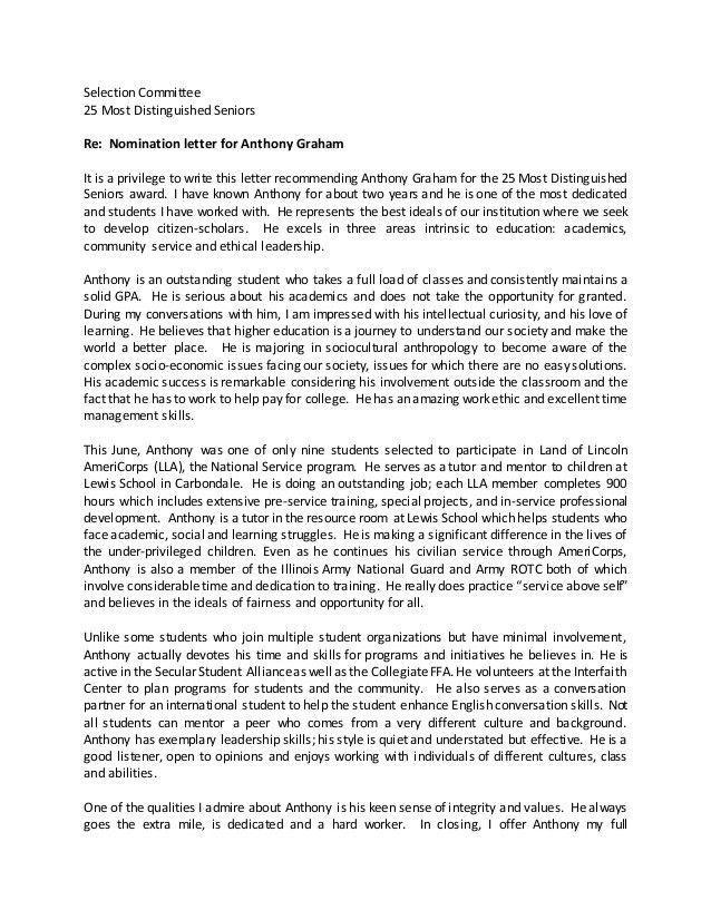 Community Service Recommendation Letter Sample Recommendation - leadership recommendation letter