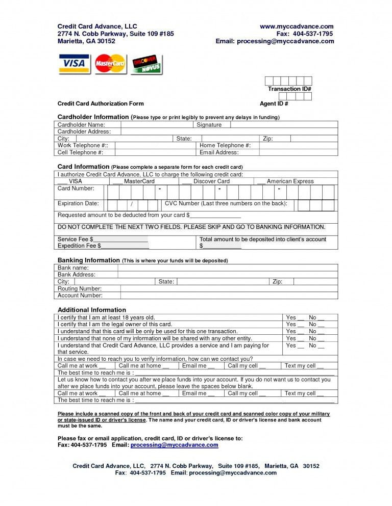 credit card authorization form word
